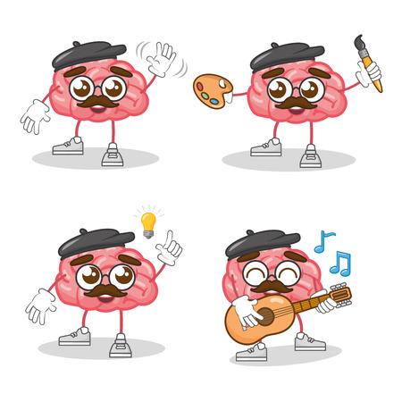 cartoon brain character creativity set vector illustration Illustration