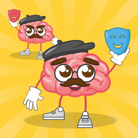 cartoon brain holding mask theater creativity vector illustration Ilustração