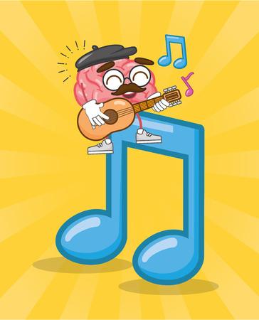 cartoon brain playing guitar note creativity vector illustration
