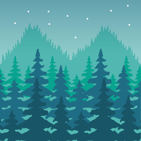 mountains trees forest wanderlust landscape vector illustration Illustration