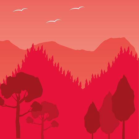 mountains trees forest wanderlust landscape vector illustration Illustration