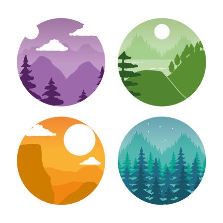 forest mountain nature wanderlust landscape set vector illustration Illustration