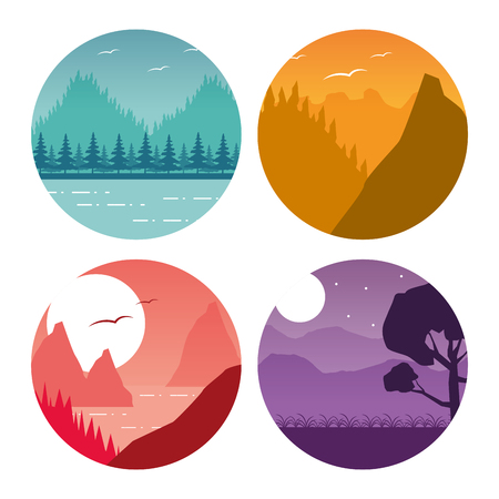 forest mountain nature wanderlust landscape set vector illustration 版權商用圖片 - 124834996
