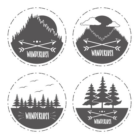 forest mountain nature wanderlust sketch set vector illustration Banco de Imagens - 124834998