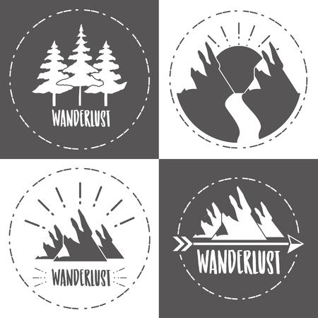 forest mountain nature wanderlust sketch set vector illustration Illustration