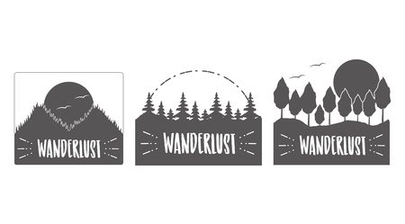 wanderlust landscape nature mountains grunge style vector illustration