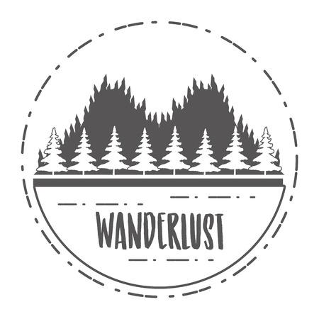 forest nature wanderlust landscape sketch design vector illustration Banco de Imagens - 124835001