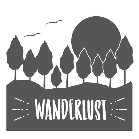 forest nature wanderlust landscape sketch design vector illustration Banco de Imagens - 124835005