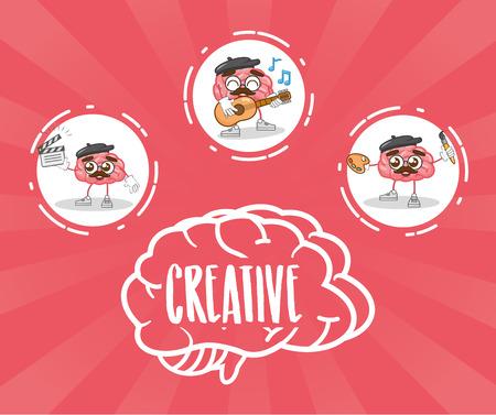 cartoon brain character activities creativity vector illustration