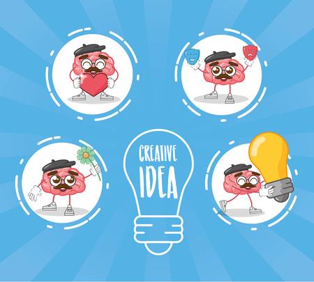 cartoon brain characters bulb idea creativity vector illustration