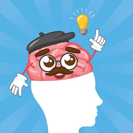 cartoon brain on head with idea creativity vector illustration