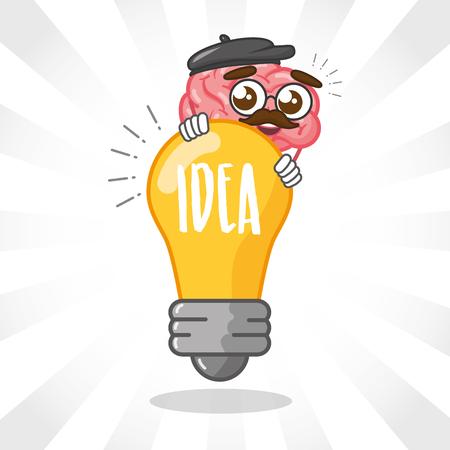cartoon brain bulb imagination creativity vector illustration Illustration