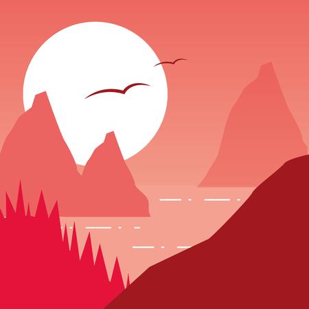 mountains moon lake forest wanderlust landscape vector illustration