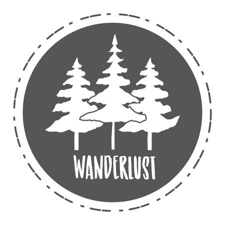 forest nature wanderlust landscape sketch design vector illustration 向量圖像