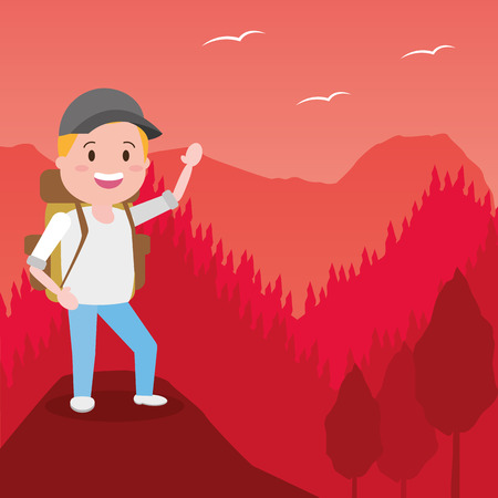 man travel adventure background landscape - wanderlust vector illustration