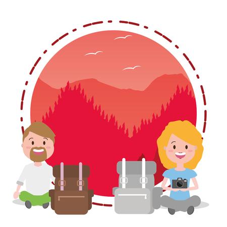 couple tourist travel landscape - wanderlust vector illustration Illustration