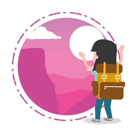 woman cartoon tourist background landscape - wanderlust vector illustration