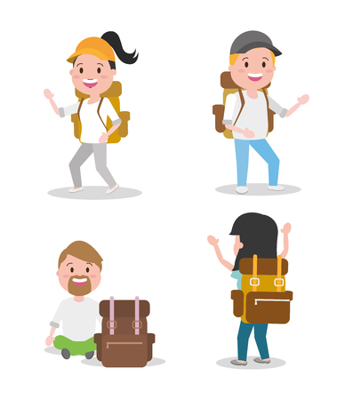 people with backpack travel set wanderlust cartoon vector illustration