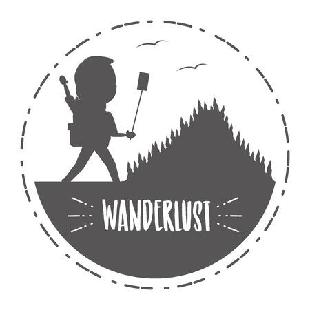 man taking selfie travel adventure - wanderlust vector illustration Standard-Bild - 118013857