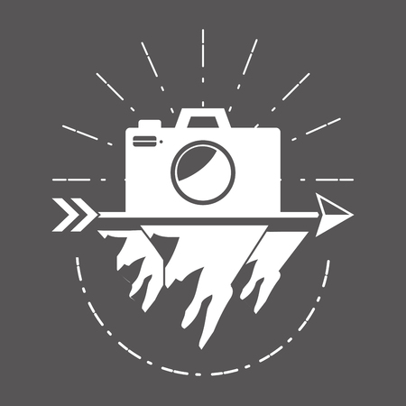 camera wanderlust badge retro style vector illustration