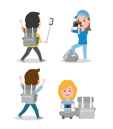 people camera and backpack travel set wanderlust cartoon vector illustration 向量圖像