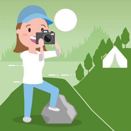 man travel adventure background landscape - wanderlust vector illustration