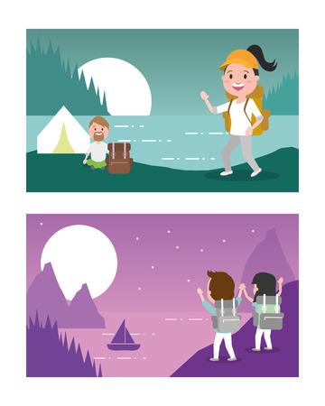 Wanderlust folleto viajes de aventura personas ilustración vectorial