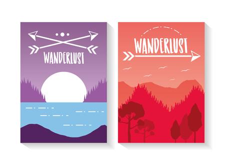 forest lake mountains wanderlust landscape poster vector illustration