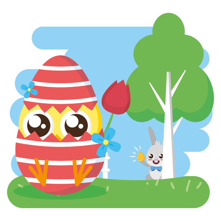 chick with flower in egg shell decoration happy easter card vector illustration