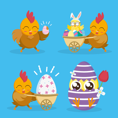 hen chicks and decorative eggs happy easter card vector illustration Ilustração