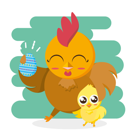 hen and chick with egg happy easter card vector illustration Illustration