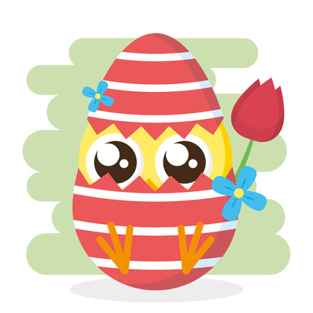 chick in egg shell flower decoration happy easter card vector illustration