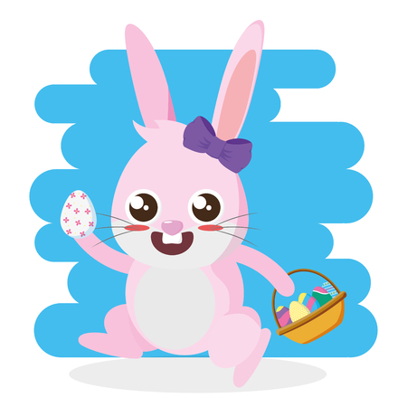 rabbit with eeg and basket happy easter card vector illustration