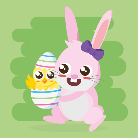 rabbit holding egg with chick happy easter card vector illustration