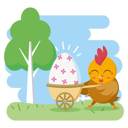 hen with egg in stroller happy easter card vector illustration Illustration