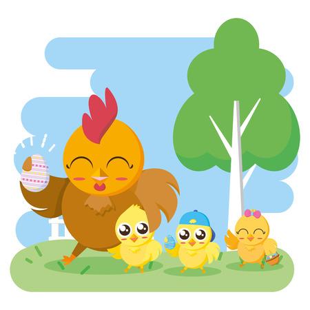 gallina con huevo y pollitos feliz Pascua tarjeta ilustración vectorial
