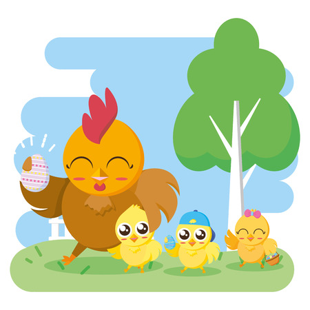 gallina con uovo e pulcini illustrazione vettoriale carta di buona pasqua