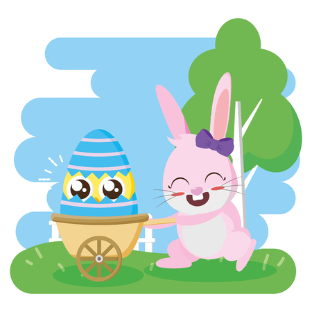 rabbit with egg in stroller happy easter card vector illustration 일러스트