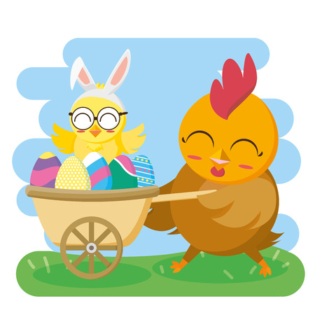 hen and chick in pram with eggs happy easter card vector illustration