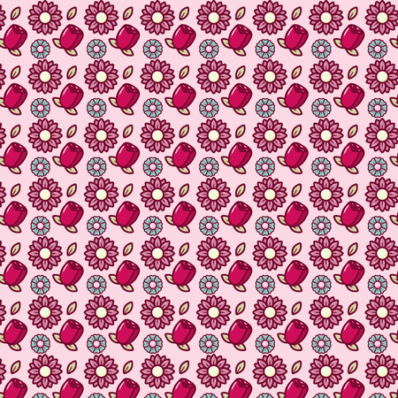 flowers decoration background happy valentines day vector illustration
