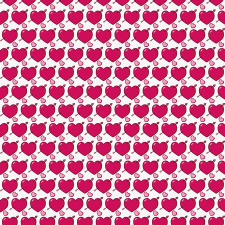hearts with arrow background happy valentines day vector illustration