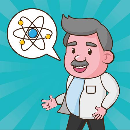 scientific talking atom laboratory science vector illustration Ilustracje wektorowe