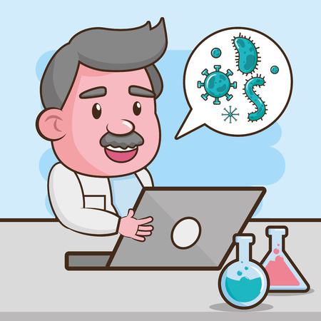 scientific laptop sample virus laboratory science vector illustration Çizim