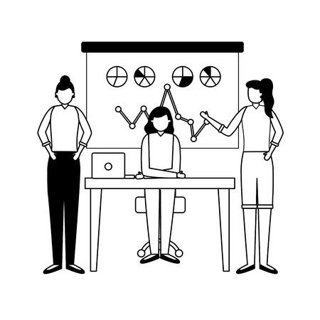 team women working laptop board presentation business vector illustration Ilustrace