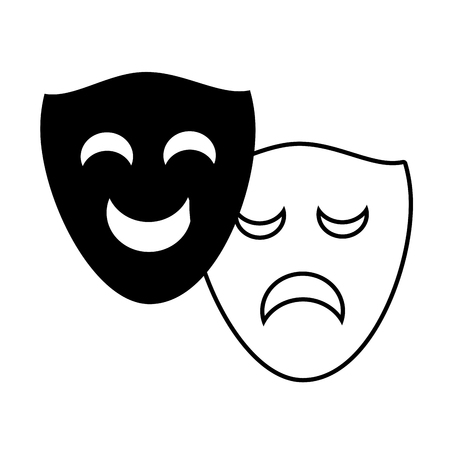 drama comedy masks theater on white background vector illustration  イラスト・ベクター素材