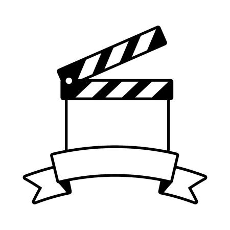 Filmklapper filmindustrie op witte achtergrond vectorillustratie Vector Illustratie