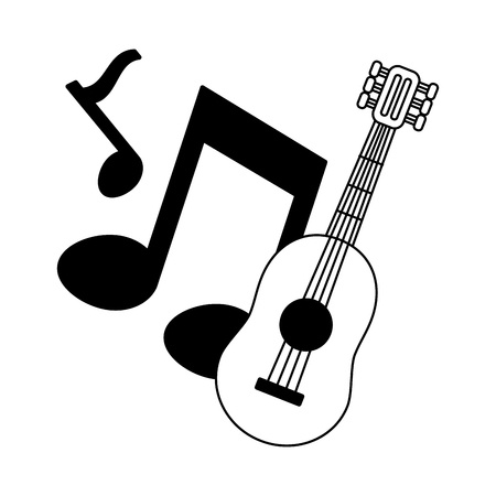 guitar notes music on white background vector illustration  イラスト・ベクター素材