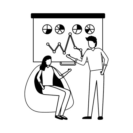 woman sitting and man business work diagram vector illustration