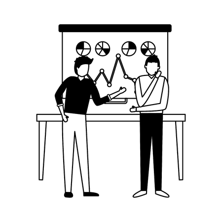 two man board presentation chart business work vector illustration Illustration