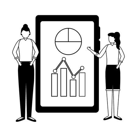 Deux femmes et diagramme de téléphone portable rapport business travail vector illustration